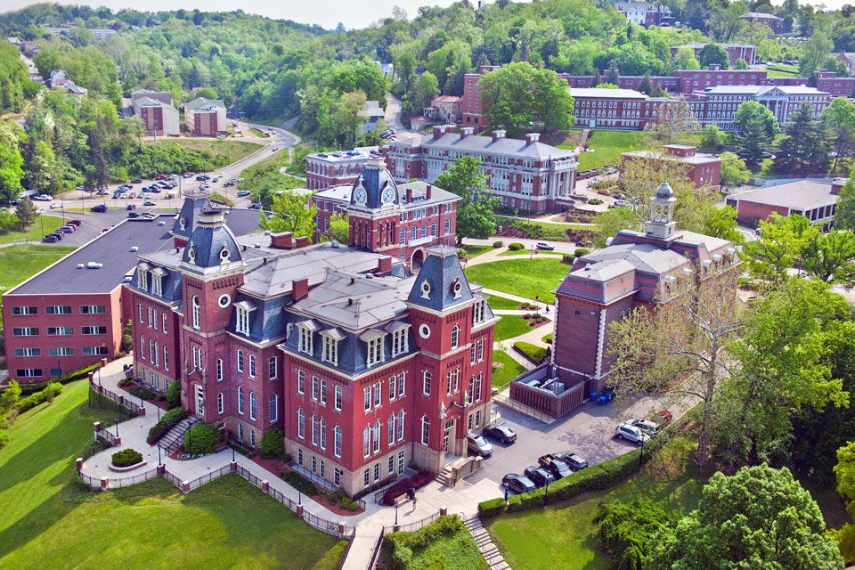 Arial view of downtown Morgantown campus