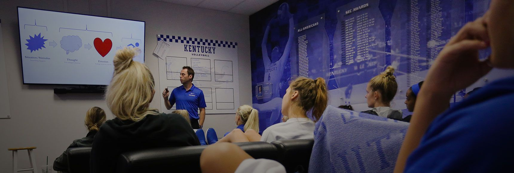Marc Cormier instructing student athletes at university of kentucky