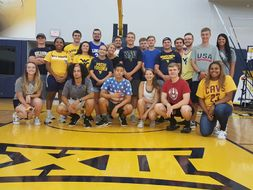LLC students pose for a photo while touring WVU's athletic facilities