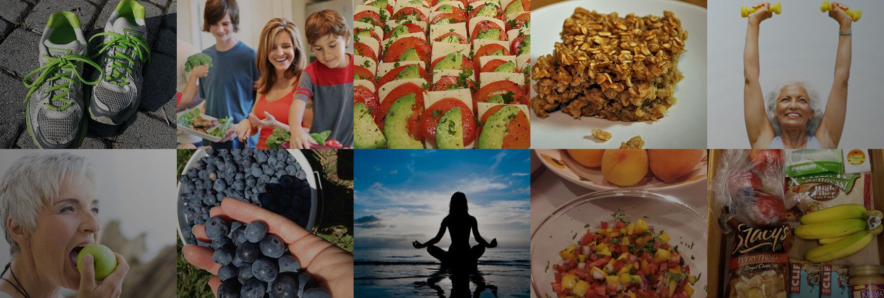 A grid of random stock photos related to dieting and exercise