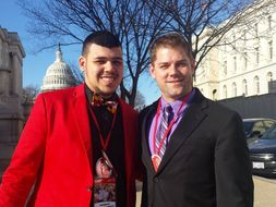 Bobby Waugh and unified bocce athlete at Capitol Hill Day