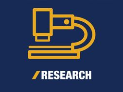 "Icon of a microscope with the word ""research"" below"