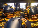 WVU football players are in the tunnel, shown ready to enter the field.