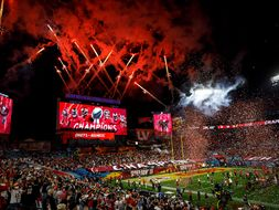 The scene from the Tampa Bay Stadium after winning Superbowl LV