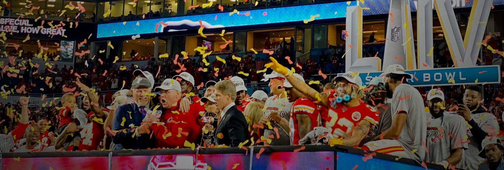 The Chiefs players and owners celebrating after winning the super bowl