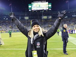 Samantha at Lambo field after the AFC championship