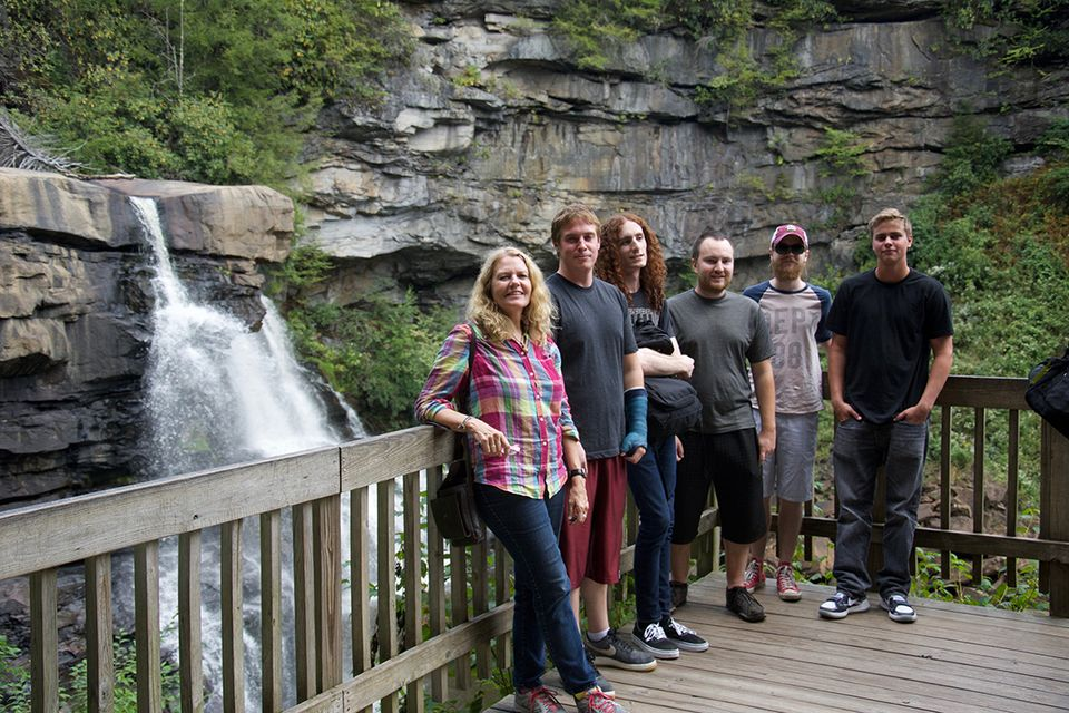 students standing in front of Blackwater Falls waterfall