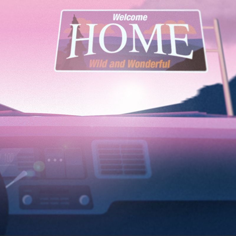 Illustration of hand on steering wheel and car dashboard with West Virginia welcome sign that says Home.