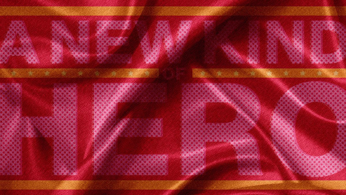 Red cape-like material background with the words A New Kind of Hero.