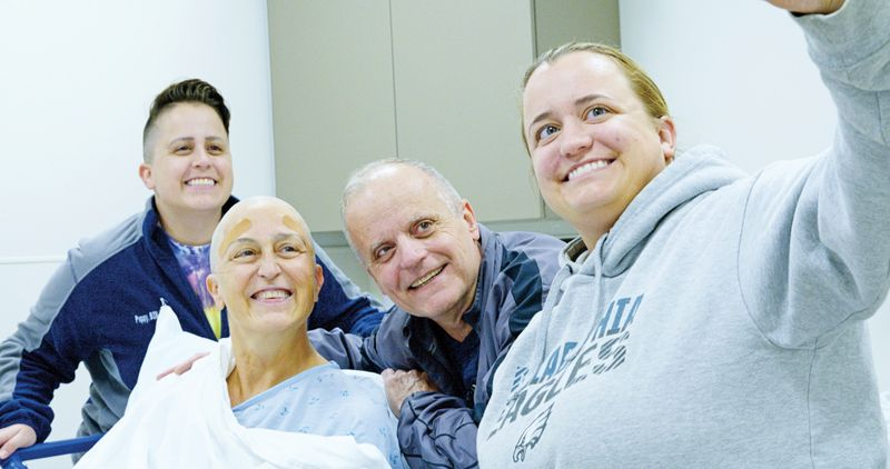 Erin, Judi, Mark and Emily Polak. The family takes a selfie following Judi's procedure.