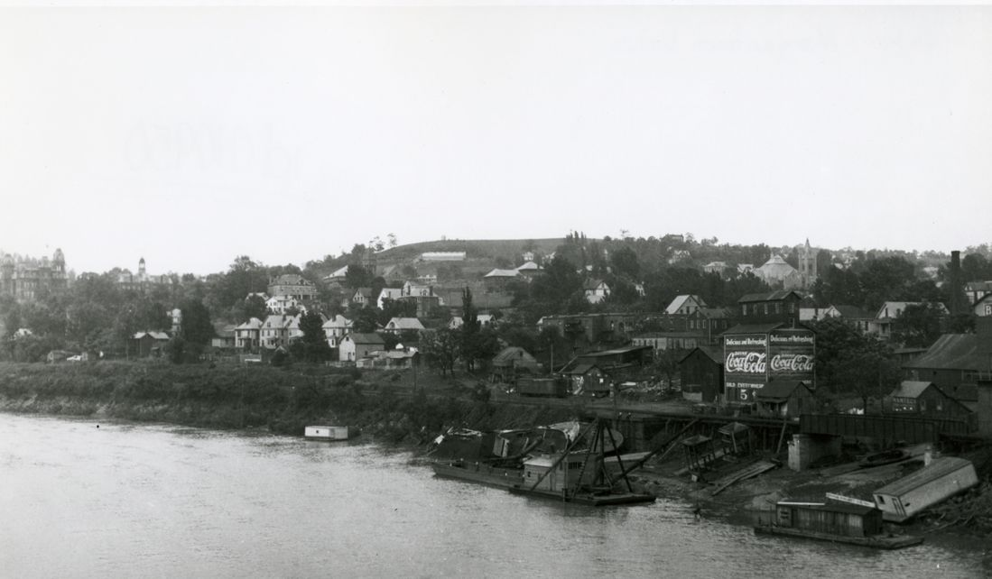 Morgantown along the river circa 1918.