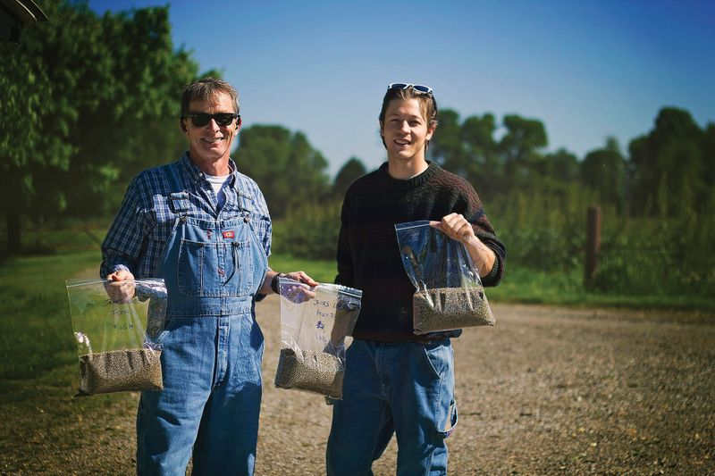 ALUMNI JIM LEACH AND J. MORGAN LEACH HOLD HEMP SEEDS FROM THE WEST VIRGINIA DEPARTMENT OF AGRICULTURE (COURTESY PHOTO).