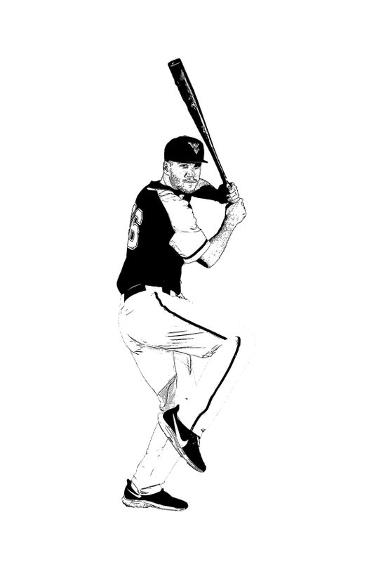 Sketch of baseball player holding bat ready to swing.