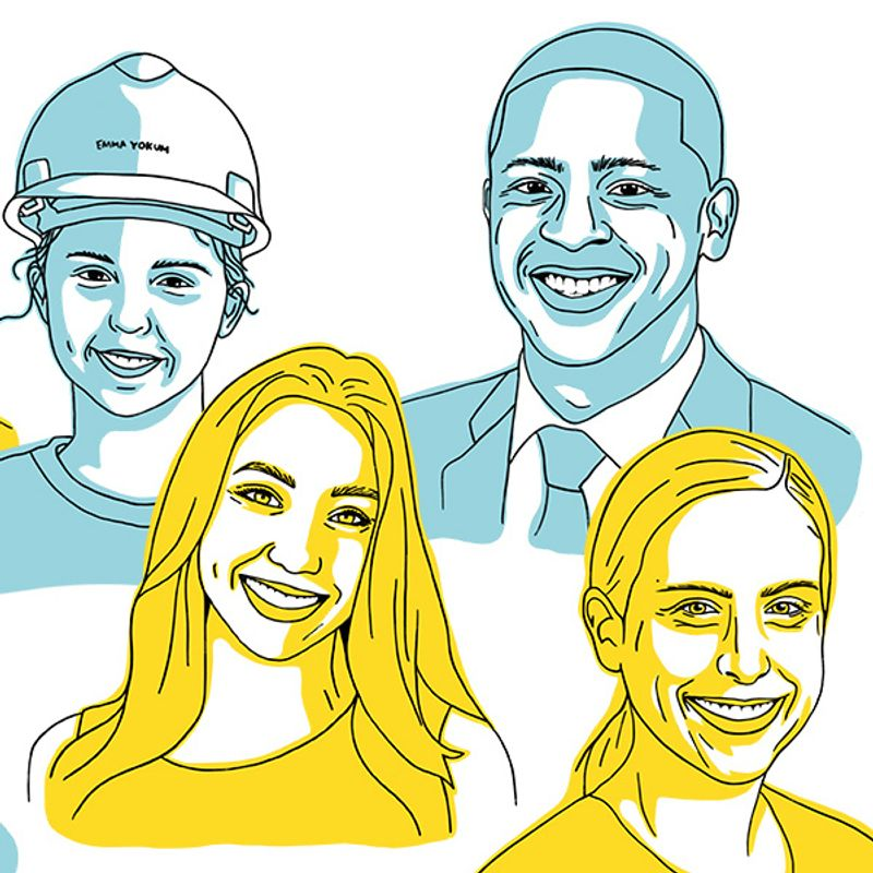 Illustration of four people, recent Mountaineer graduates who got jobs: three women and a man.