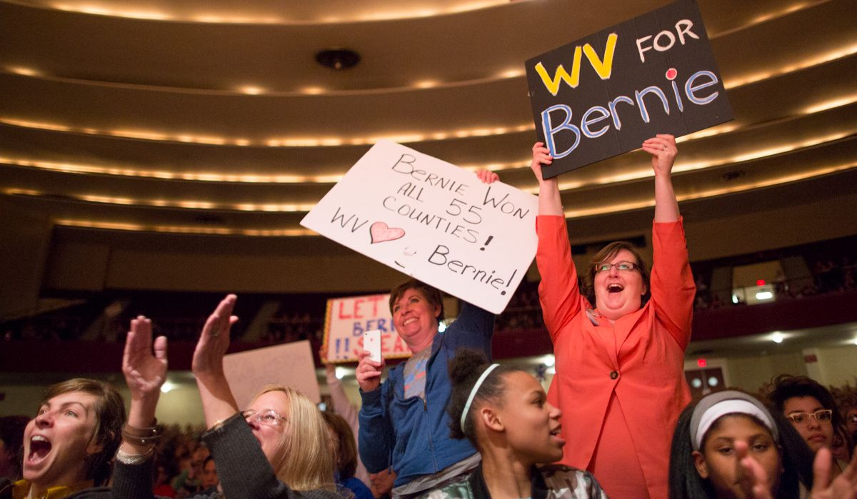 Crowds cheer as Bernie Sanders comes on stage at his book signing/talk at the Charleston Municipal Auditorium, Sunday, Feb. 12, 2017. By Nancy Andrews