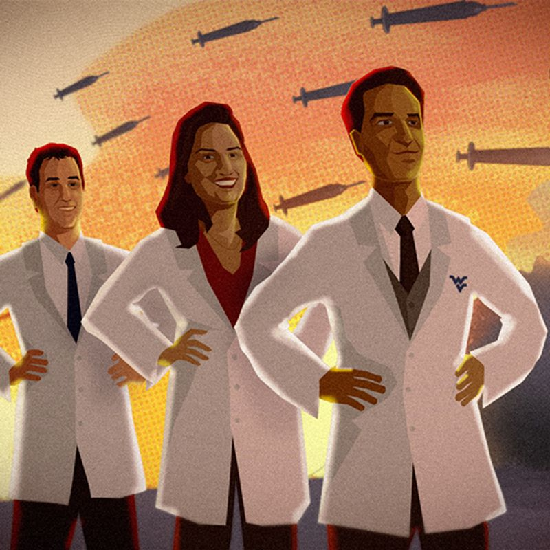 Illustration of three doctors in white coats against a backdrop of vaccines that look like missiles.