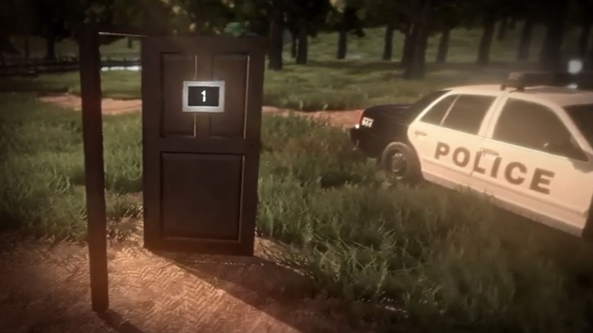 Image from Summerland video game shows a door standing in a field with a number 1 on it. A police car is parked nearby.