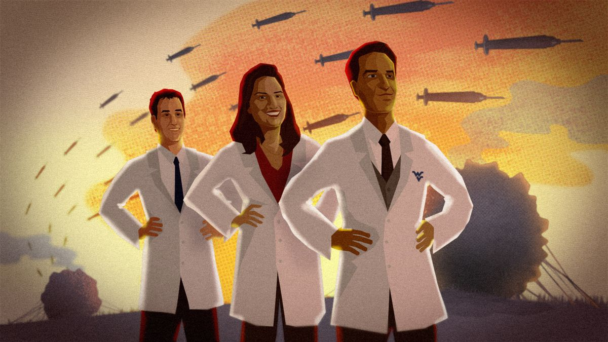 Illustration of doctors with a backdrop of vaccines that look like missiles with large cancer cells in the background.