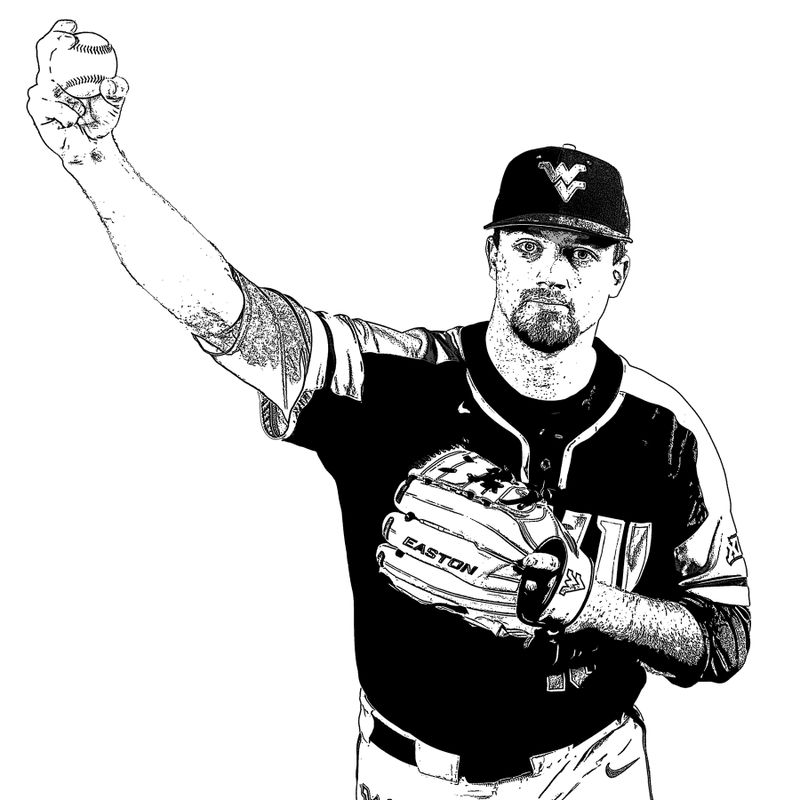 Sketch of pitcher preparing to throw ball.