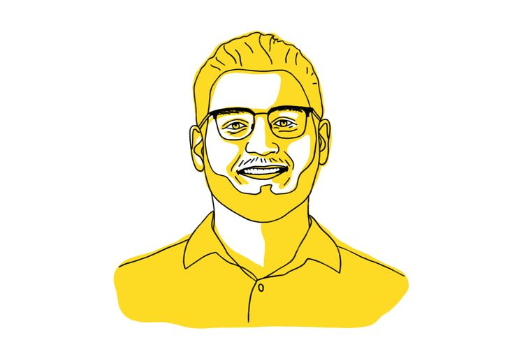 Illustration of Benjamin Wilson in yellow, man in beard and wearing glasses.