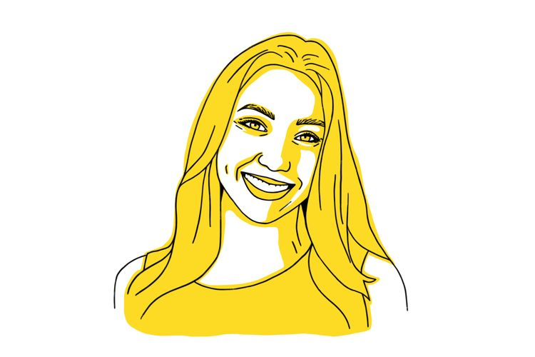 Illustration of Sarah Gordon in yellow, woman smiling with long hair.