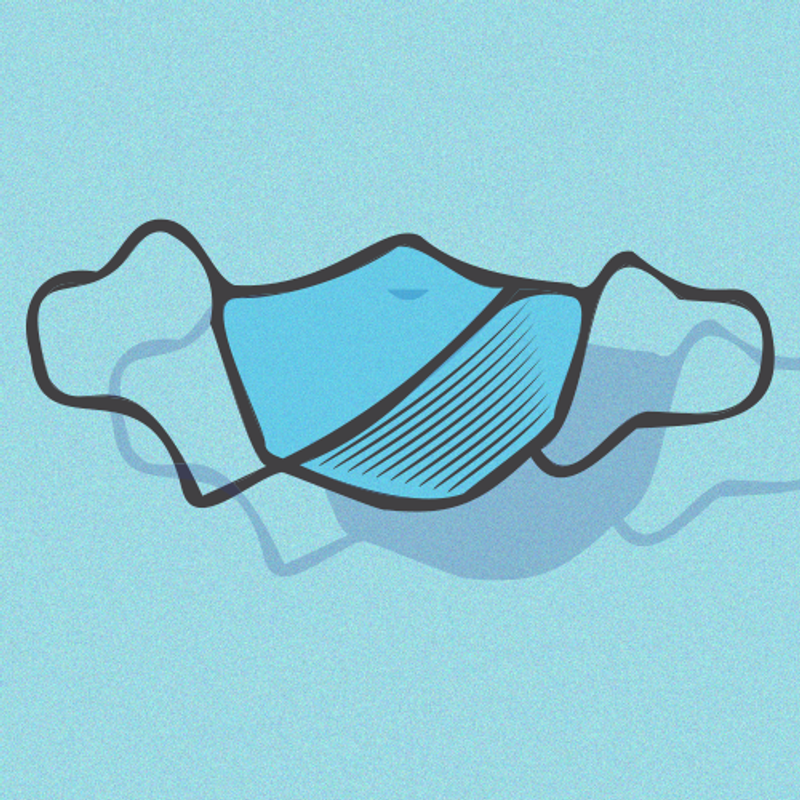 Graphic of a blue face mask.