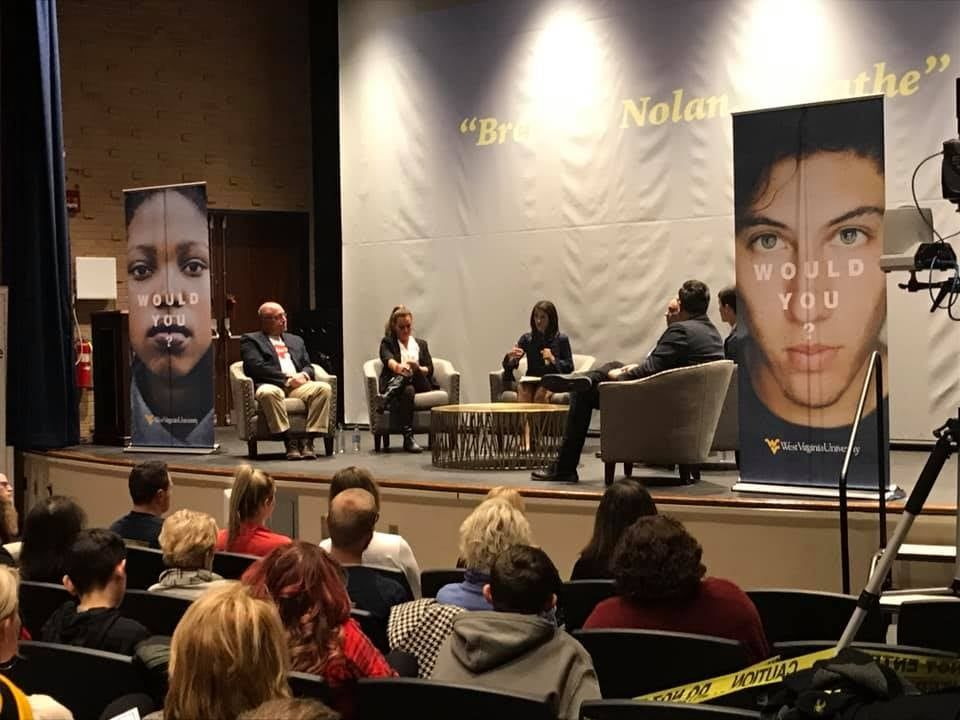 Discussion following screening of Breathe, Nolan, Breathe documentary in the Mountainlair Gluck Theatre. On stage and visible are TJ and Kim Burch and moderator April Kaull.
