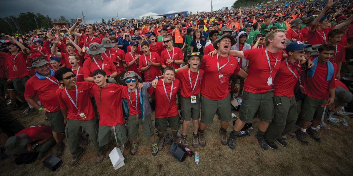 Boy scouts sing