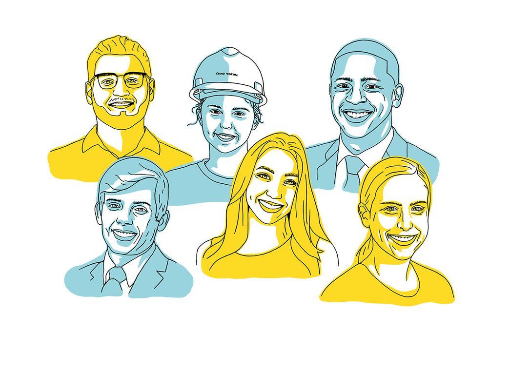 Illustration of six alumni, three women and three men.