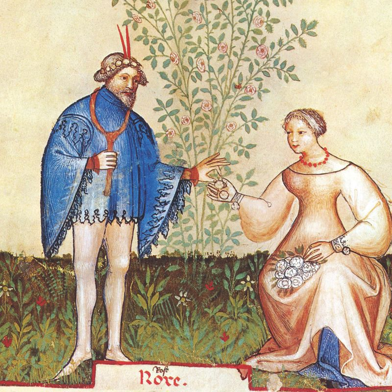 Classical painting of man taking a plant material from a woman.