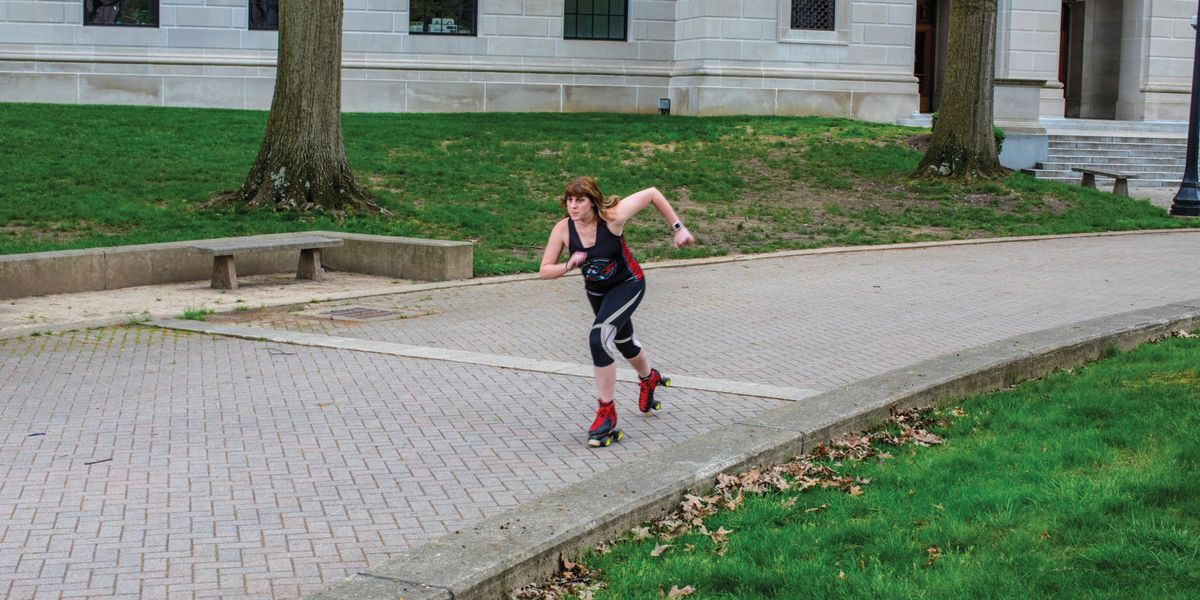 Mindy Parsley roller skating at the West Virginia State Capitol.