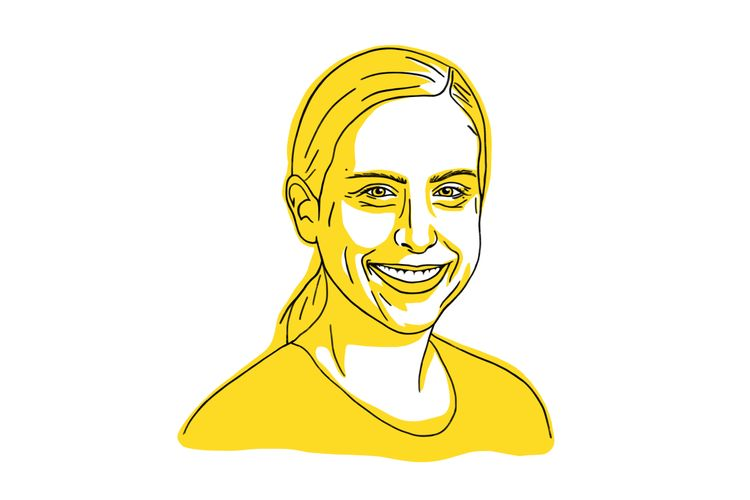 Illustration of Lauretta Werner in yellow, woman smiling.