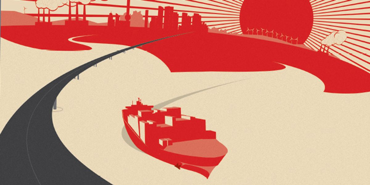 Illustration of boats going under bridge with rising sun in the background along with windmills.