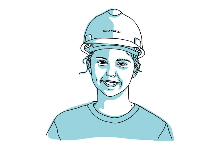Illustration of Emma Yokum in blue, woman wearing hard helmet.