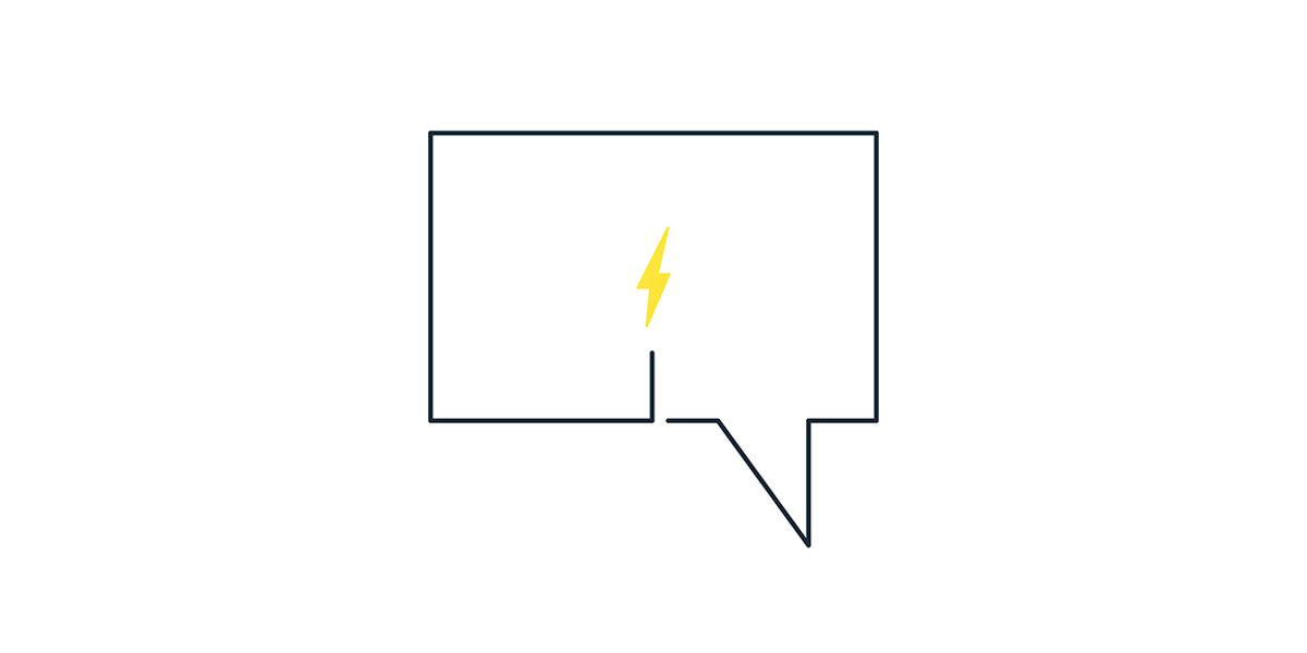 Image of speech bubble with spark inside.