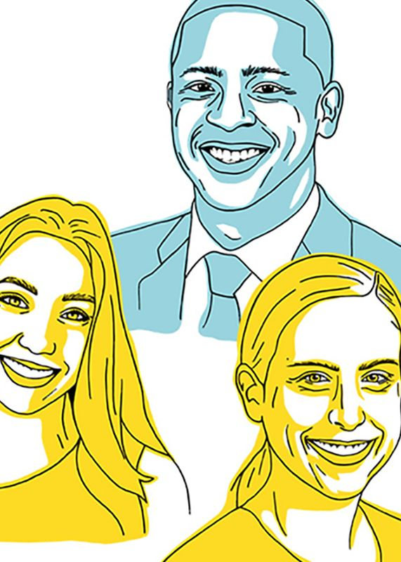 Illustration of three WVU grads who have recently been hired, two women and a man.