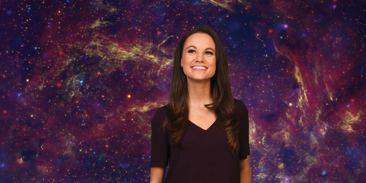 Emily Callandrelli against a backdrop of stars.