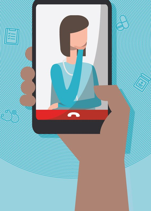 Illustration of hand holding cell phone that has image of doctor on it.