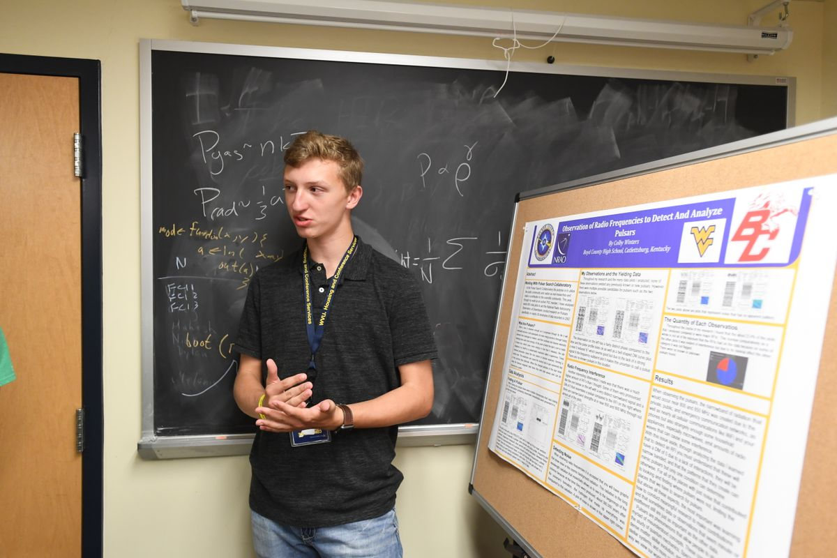 Colby Winters presents a poster at WVU.