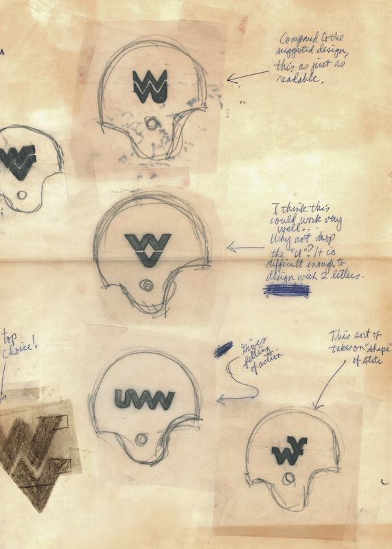 Drawings of WV logos on helmets.