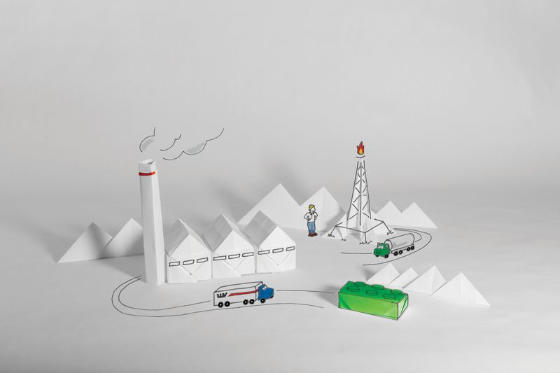 A natural gas processing facility made of origami.