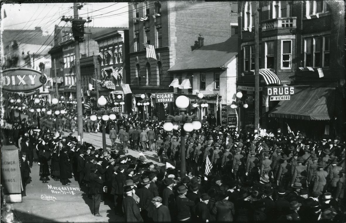 Armistice Day parade after World War I in Morgantown.