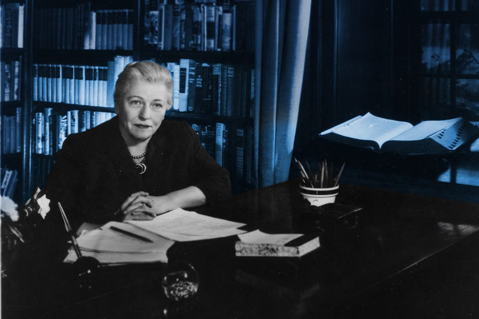 Pearl S. Buck in her study