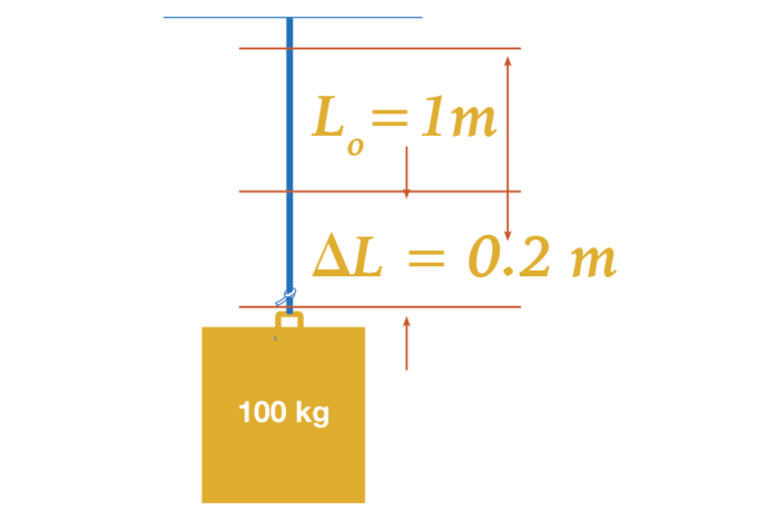 The object weighs one hundred kilograms and its initial length is one meter while the change in length is 0.2 meters.