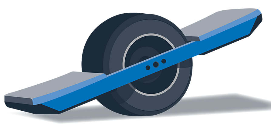An illustration of an one wheel skateboard.