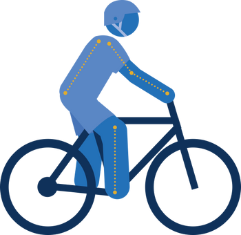 Figure shows a flat or gently curved back with a slight bend in the elbow and knees in-lined with the pedal spindle, displaying the reach and set back bike fit measurement.