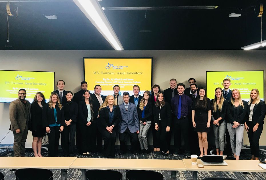 Dr. Ajay Aluri, Associate Professor in the WVU Hospitality and Tourism Management program, and his students presented their semester-long projects to WV Tourism Office representatives and WV Forward partners on Friday, December 7, 2018
