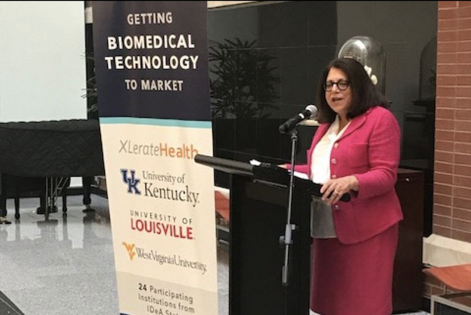 WVU Provost Joyce McConnell speaks during announcement of regional hub to train entrepreneurs, advance and commercialize healthcare technology
