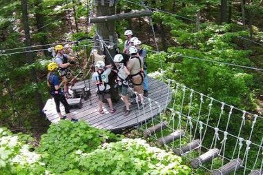 Ziplining course activity at camp