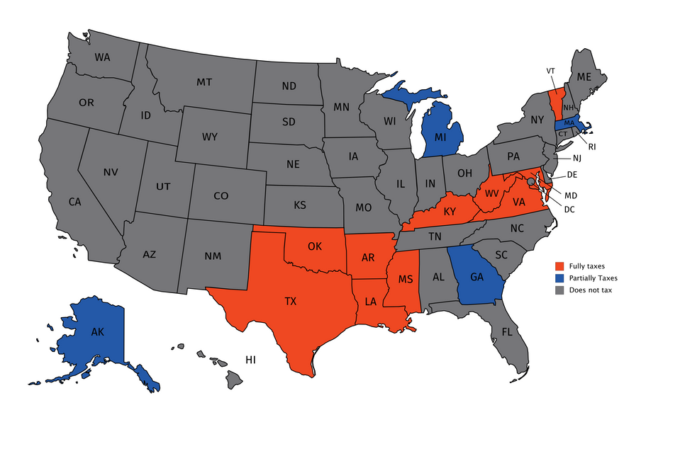 United States map of states that use tangible personal property tax on business inventory. West Virginia is fully taxed.